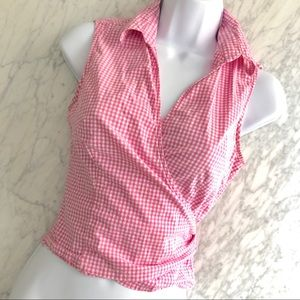 Pink Picnic Checkered Gingham Wrap Top